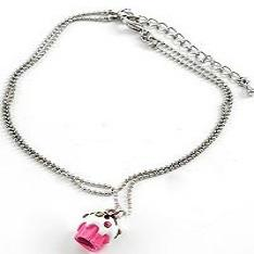 "*[ANK]-Pink Cupcake Charm Silvertone Anklet - jewelz by julz...""The Collection!"""