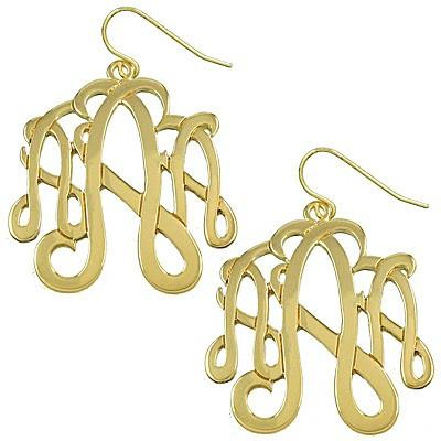 "*[E/R]-Monogram Earring  ~A~ Goldtone - jewelz by julz...""The Collection!"""