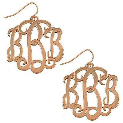 "*[E/R]-Monogram Earring in Rose Gold Finish - ""B"" - jewelz by julz...""The Collection!"""