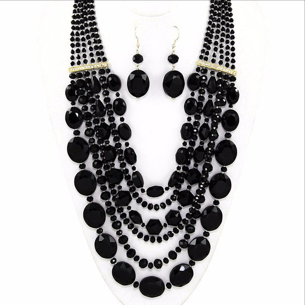 "*[N/LS]-Glass Bead Necklace Statement Set-Black - jewelz by julz...""The Collection!"""