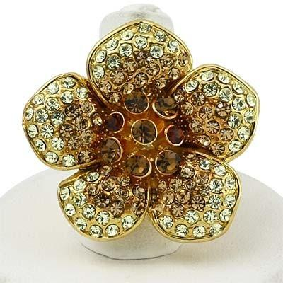 "*[R]-Gold Rhinestone 5 Petal Flower Ring-Size 9 - jewelz by julz...""The Collection!"""