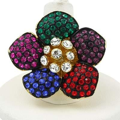 "*[R]-Multi-color Rhinestone 5 Petal Flower Ring- 8 - jewelz by julz...""The Collection!"""