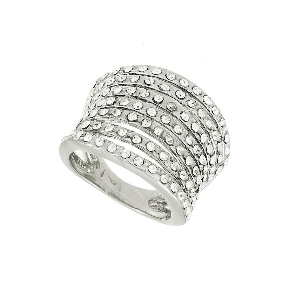 "*[R]-Silver Rhinestone 7 Layers Statement Ring- 9 - jewelz by julz...""The Collection!"""