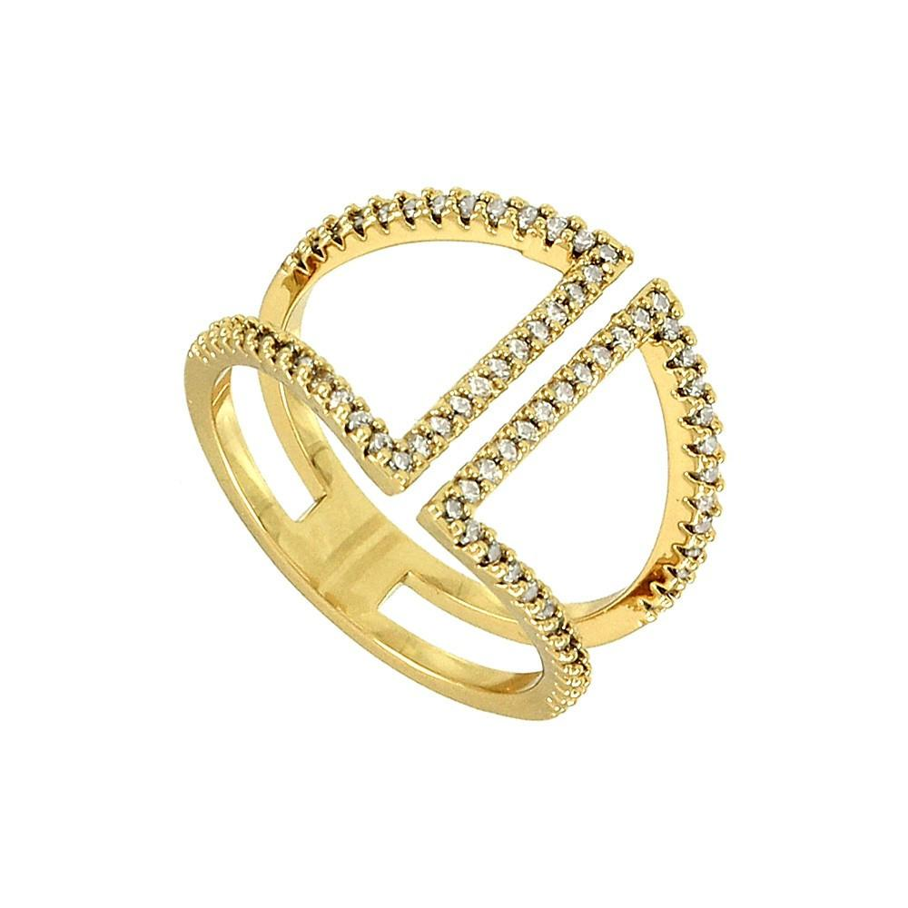 "*[R]-Goldtone Parallel Lines Cubic Zirconia Ring - jewelz by julz...""The Collection!"""