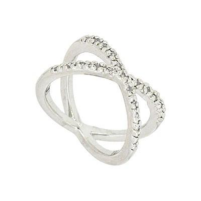 "*[R]-Silvertone Cubic Zirconia ""X"" Ring - jewelz by julz...""The Collection!"""