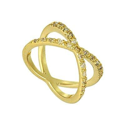 "*[R]-Goldtone Cubic Zirconia ""X"" Ring - jewelz by julz...""The Collection!"""
