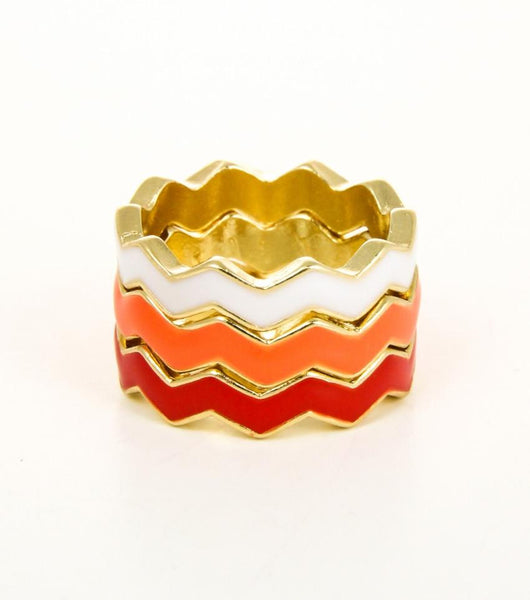"*[R]-Colorful Tri-Stacked Chevron Designed Rings - jewelz by julz...""The Collection!"""
