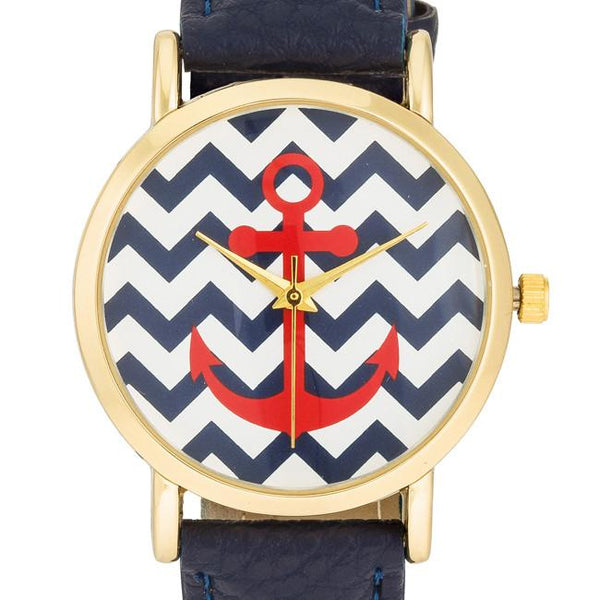 "*[WTC]-Nautical Navy Leather Band Women's Watch - jewelz by julz...""The Collection!"""