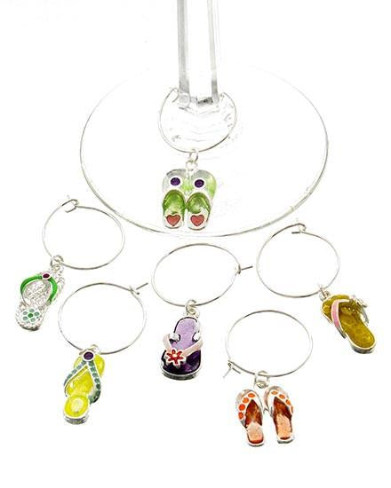 "*[ETC]-Flip Flops Drinking Glass Charms- 6 Pack - jewelz by julz...""The Collection!"""