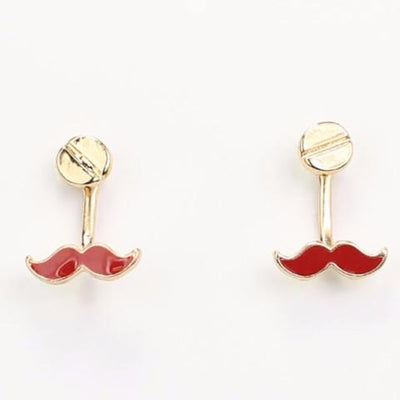 "*[E/R]-Short Drop Mini Mustache Earrings Red - jewelz by julz...""The Collection!"""