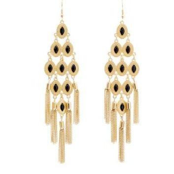 "*[E/R]-Goldtone & Black Diamond Formation Chandelier Earrings - jewelz by julz...""The Collection!"""