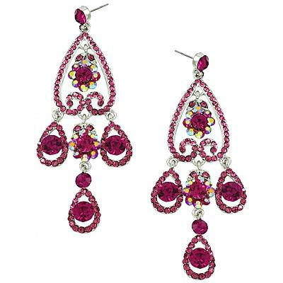 "*[E/R]-Fuchsia Rhinestone Chandelier Earrings - jewelz by julz...""The Collection!"""