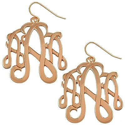 "*[E/R]-Monogram Earring in Rose Gold Finish - ""A"" - jewelz by julz...""The Collection!"""