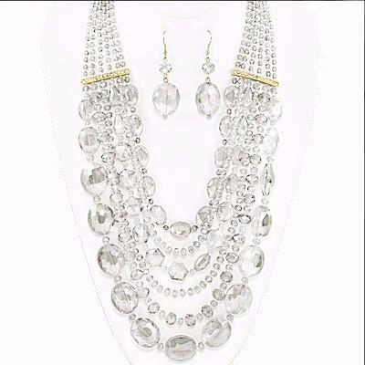"*[N/LS]-Glass Bead Necklace Statement Set- Clear - jewelz by julz...""The Collection!"""