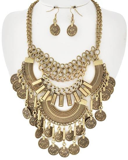 "[N/LS]-Burnished Gold Tone Statement Necklace Set - jewelz by julz...""The Collection!"""