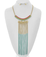 "*[N/LS]-Mint Ombre Metallic Fringe Statement Necklace - jewelz by julz...""The Collection!"""