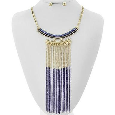 "*[N/LS]-Navy Ombre Metallic Fringe Statement Necklace - jewelz by julz...""The Collection!"""