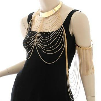 "*[B/J]-Goldtone Cascading BodyChain with Choker & Arm Cuff - jewelz by julz...""The Collection!"""
