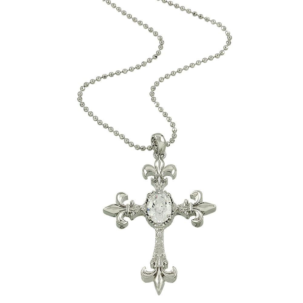 "*[N/L]-Fleur De Lis Gem Stone Cross Necklace - jewelz by julz...""The Collection!"""