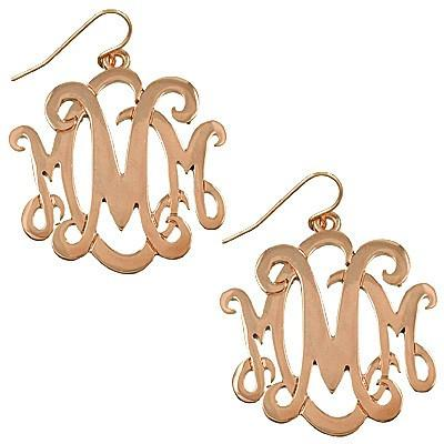 "*[E/R]-Monogram Earring ~M~ Rosegold Finish - jewelz by julz...""The Collection!"""