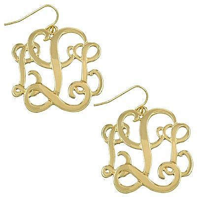 "*[E/R]-Monogram Earring ~L~ Goldtone - jewelz by julz...""The Collection!"""