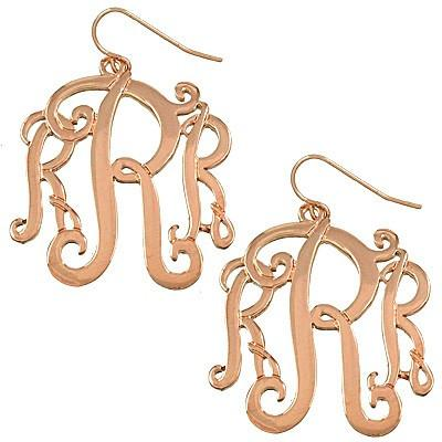 "*[E/R]-Monogram Earring ~R~ Rosegold Finish - jewelz by julz...""The Collection!"""