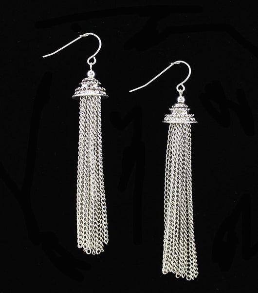"*[E/R]-Antique Silvertone Chain Link Tassel Drop Earrings - jewelz by julz...""The Collection!"""