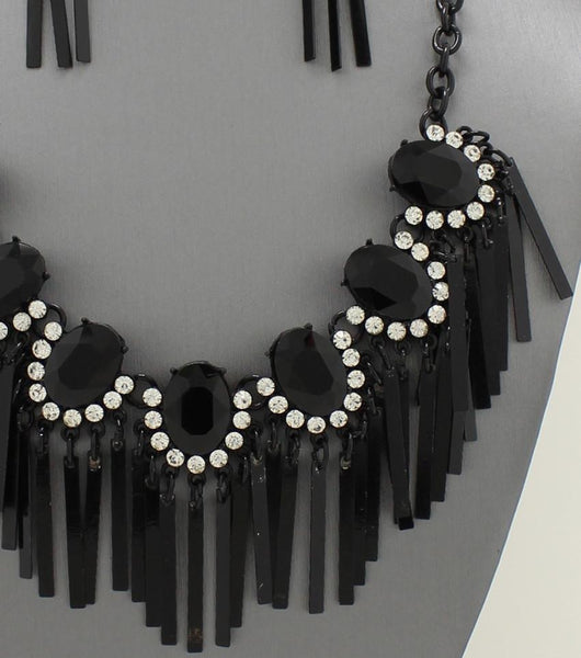 "*[N/LS]-Crystal Accented Black Metal Fringe Necklace - jewelz by julz...""The Collection!"""