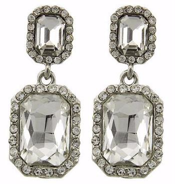 "*[E/R]- Faux Emerald Cut Large Crystal Earring- Dangler - jewelz by julz...""The Collection!"""