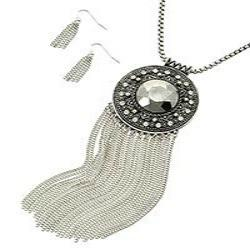 "*[N/LS]-Antique Silvertone Medallion Fringe Pendant Necklace Set - jewelz by julz...""The Collection!"""
