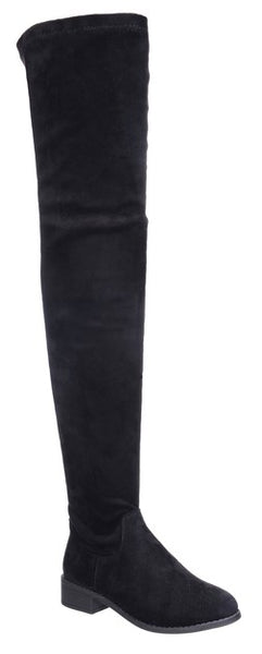 *Vegan Suede Over The Knee Tie Back High Flat  Boots