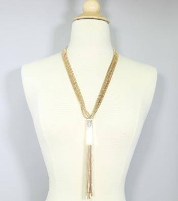 "*[N/Ls]-Long Metal Tassel Pendant Goldtone Necklace Set - jewelz by julz...""The Collection!"""