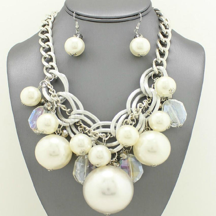 "*[N/LS]-Silvertone Statement Pearl Mix Necklace Bib Set - jewelz by julz...""The Collection!"""