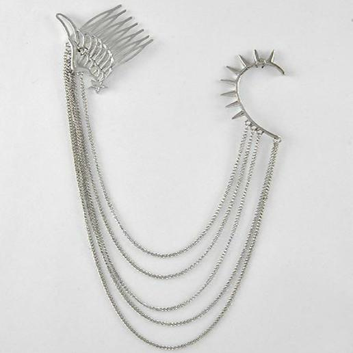 "*[ETC]-Antique Silvertone Hair and Ear Attached Adornment - jewelz by julz...""The Collection!"""