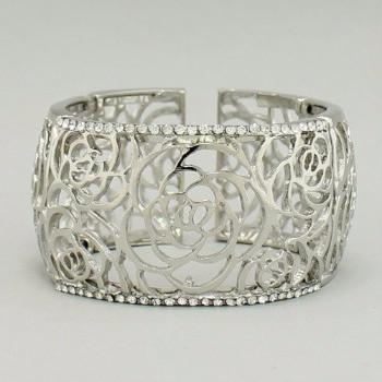 "*[B/L]-Rose Cut Filigree Floral Rhinestone Cuff Bracelet - jewelz by julz...""The Collection!"""