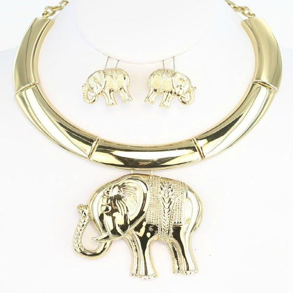 "*[N/LS]-Goldtone Choker Collar Elephant Pendant Necklace Set - jewelz by julz...""The Collection!"""