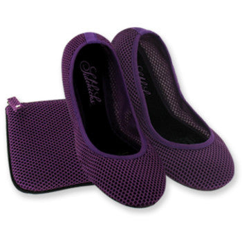 *Purple Mesh Sidekicks Flats with matching Clutch Keeper- 10-11 - g.e.llc•Style