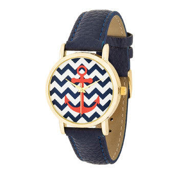 *Navy Nautical Leather Band Women's Watch - g.e.llc•Style