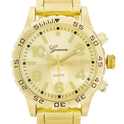 Men's Large Dial Metal Fashion Watch- Goldtone - g.e.llc•Style
