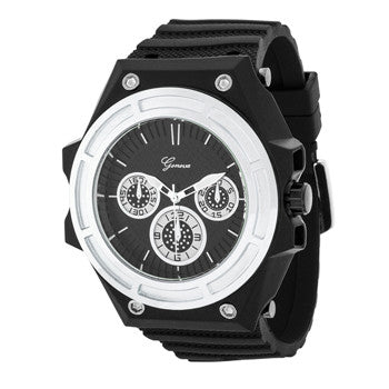 Men's Black Silicone Chronograph Sports Watch-Silver Dial