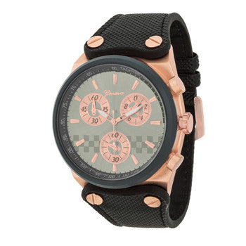 Men's Geneva Rose Gold Dial Chronograph Watch - g.e.llc•Style