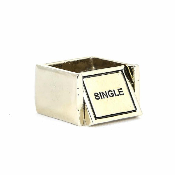 "*[R]-Goldtone Double Sided Swivel Square Ring | Single / Married Print - jewelz by julz...""The Collection!"""