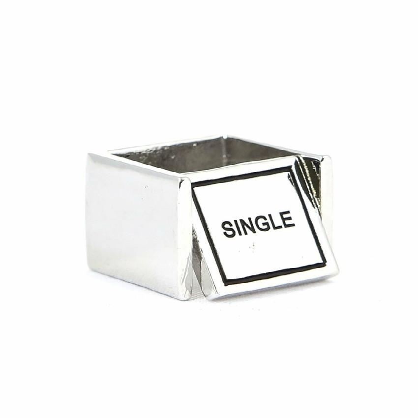 "*[R]-Silvertone Double Sided Swivel Square Ring | Single / Married Print - jewelz by julz...""The Collection!"""