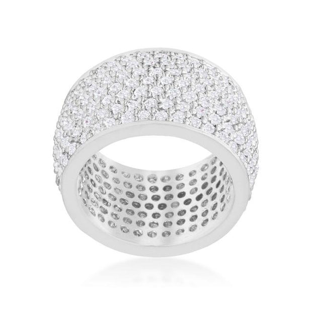 "[R]-Wide Pave Cubic Zirconia Silvertone Band Ring - jewelz by julz...""The Collection!"""