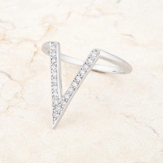 "[R]-The Michelle Delicate V- Shape Ring- Silvertone - jewelz by julz...""The Collection!"""