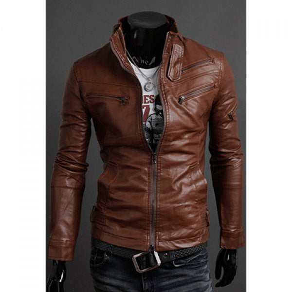 Men's Brown Multi Zipper Faux Leather Jacket - g.e.llc•Style