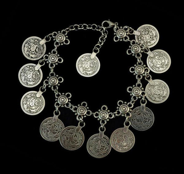 "[ANK] Bohemian Antique Silvertone Coins Gypsy Anklet - jewelz by julz...""The Collection!"""