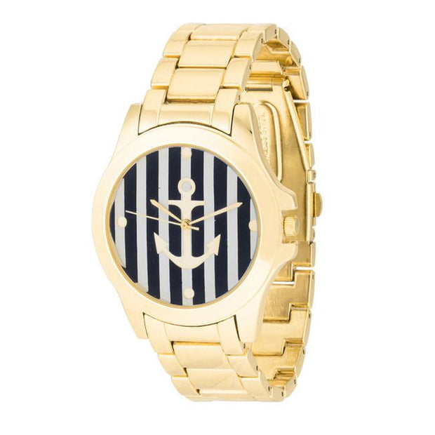 "[WTC]-Black & Gold Nautical Stripe Face Watch - jewelz by julz...""The Collection!"""