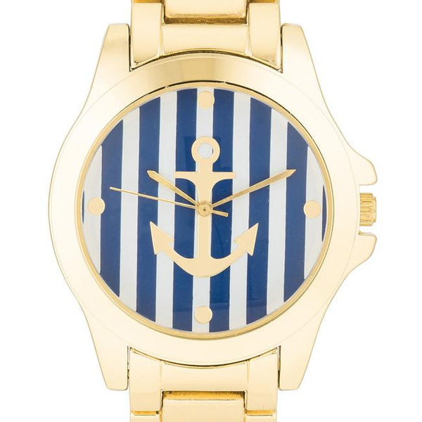 "[WTC]-Navy & Gold Nautical Stripe Face Watch - jewelz by julz...""The Collection!"""