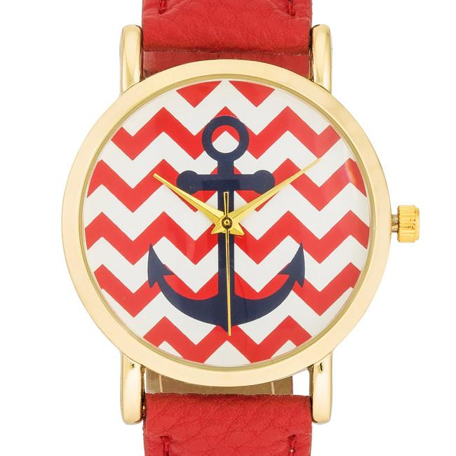 "*[WTC]-Nautical Red Leather Band Women's Watch - jewelz by julz...""The Collection!"""